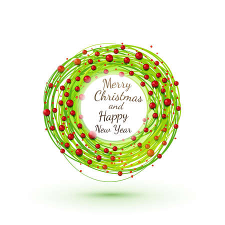 chaplet: Modesrn style drawing Christmas wreath. Xmas circle symbol. Vector sketch.