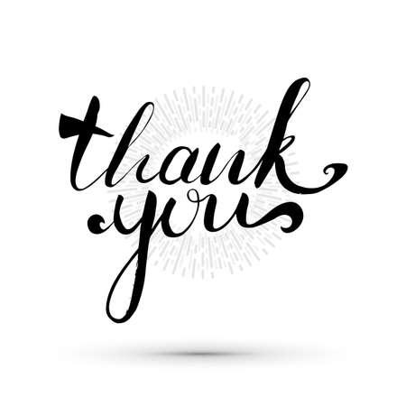 손으로 쓴 카드 감사합니다. 서예 감사 스케치. 일러스트