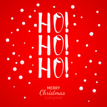 ho: Ho-Ho-Ho Christmas greeting card with lettering. Hand drawing holidays design element.