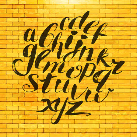abcd: Hand painted alphabet at brick wall. Vector isolated hand drawing letters. Hand lettering.