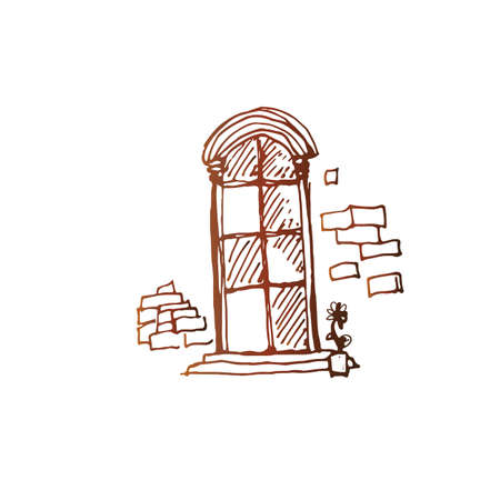old window: Old style window simple vector sketch. Linear pen drawing vector sketch. Illustration