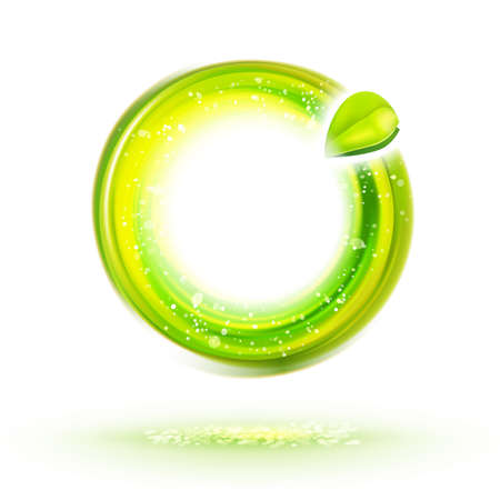 idea symbol: Abstract green energy circle label with leaf. Natural food identity idea. Ecology design illustration. Healthy icon. Illustration