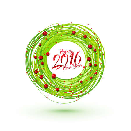 winter holidays: Modern style New Year wreath with calligraphy. Winter holidays modern circle symbol. Vector sketch.