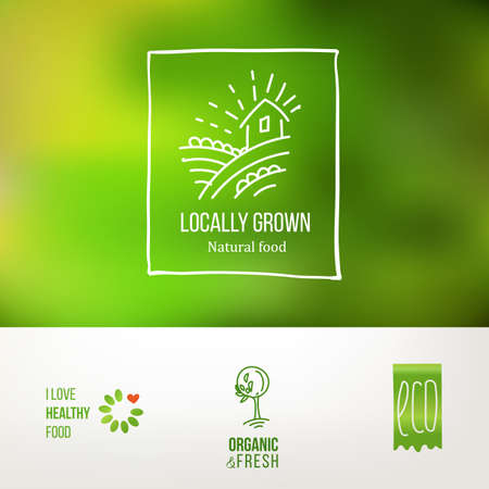 Set of icons for food and drink, restaurants and organic products. Natural ingredients logos. Natural food label collection.