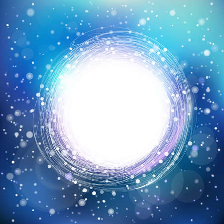 Abstract vector snowing background with circle label
