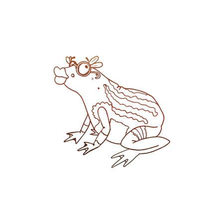 princess frog: Princess Frog vector sketch. Linear pen drawing vector sketch.