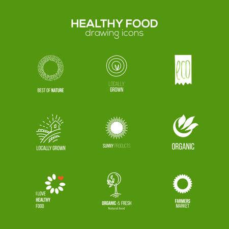 Gezond eten en drinken, restaurants en biologische producten Lael ingesteld. Natuurlijke ingrediënten pictogrammen. Natuurlijk voedsel iconen collectie. Stock Illustratie