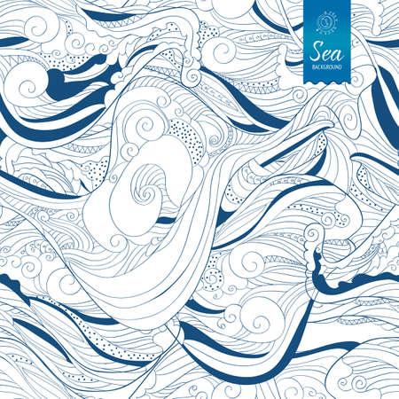Seamless blue waves hand drawing vector tape. Abstract banner design. Sea or sky decorative illustration.