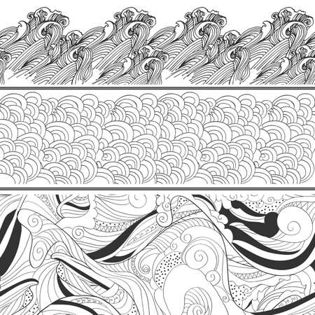 Tile  hand drawing waves set. Vector . Abstract banner design. Sea or sky decorative illustration. Vettoriali