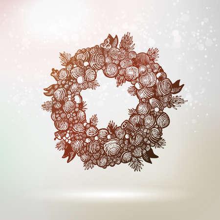 fur tree: Christmas and New Year holidays vector. Hand drawn Xmas wreath vintage illustration with fur tree and balls. Illustration