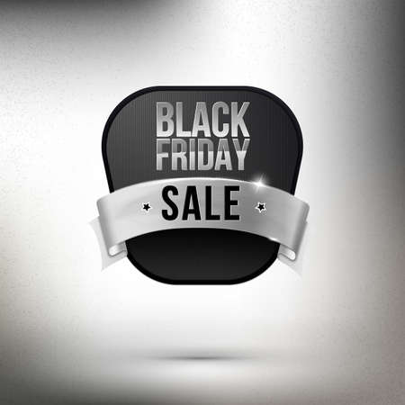 ruban blanc: Black label with white ribbon for Black Friday Sale. Business coupon element. Illustration