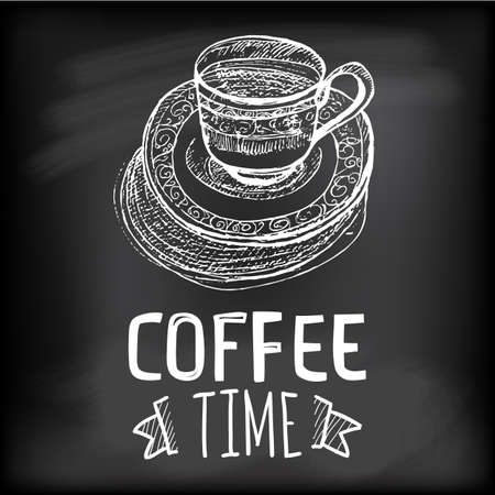 coffee time: Linear sketch coffee cup at sauce. Coffee cup for coffee time. Vector creative cafe menu illustration.