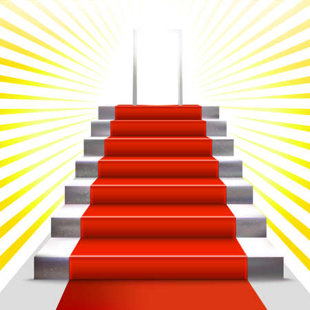 rewarding: Realistic stone ladder with red carpet  and open door. Luxury style vector illustration. Staircase and enter concept. Lighting effect. Award rewarding. Vectores