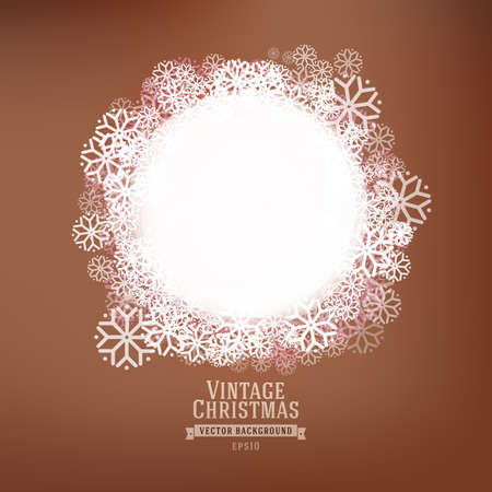 Abstract white Christmas circle label at vintage background. Winter vector illustration. Banner with snow. Old style holidays illustration.