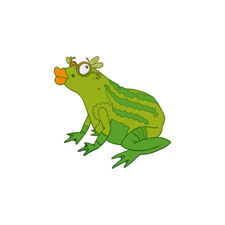 princess frog: Princess Frog with lips and glasses. Fun vector sketch. Drawing vector sketch. Illustration