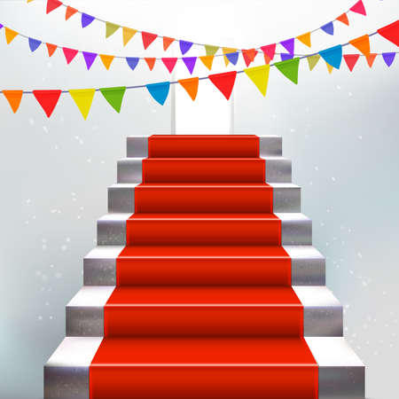 Party with ladder and red carpet concept. Holidays flags. Award presentation. Invite illustration.