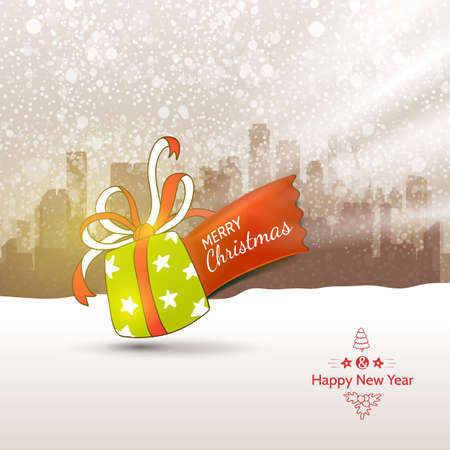 snow: Traditional Holidays outdoor illustration with gift. Vector Xmas card design.