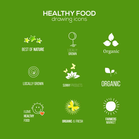 organic farming: Healthy food and drink, restaurants and organic products label set. Natural ingredients icons. Natural food icons collection. Illustration