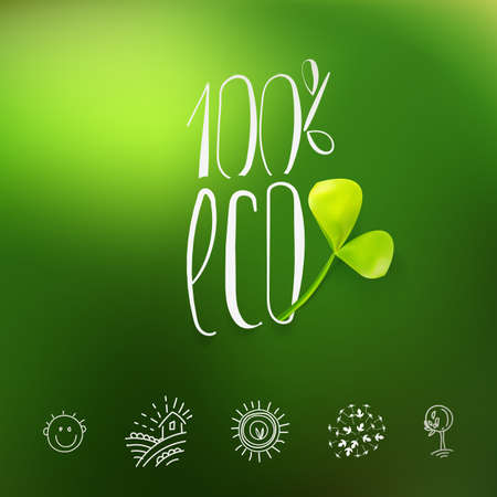 eco green: Eco product icon. Set of icons for food and drink, restaurants. Natural ingredients icons. Illustration