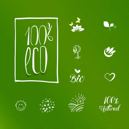 slow food: Set of icons for food and drink, restaurants and organic products. Natural ingredients icons. One hundred percent eco product label set.