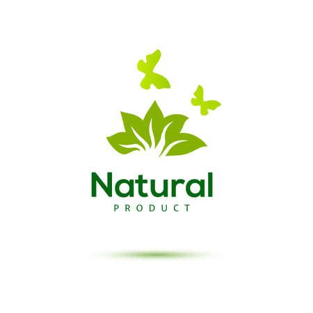 productos naturales: Icono floral con la mariposa de los productos naturales. Emblema verde. Granja identidad de concepto de alimentos. Vectores