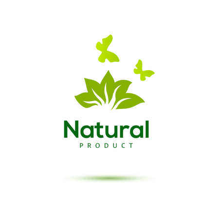 Floral icon with butterfly for natural products. Green emblem. Farm food identity concept. Illustration