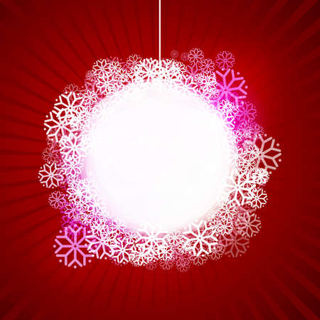 Abstract white Christmas ball at red background. Winter vector illustration. Label with snow.