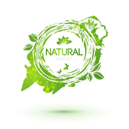 Green splash logo with leaves for natural products. Green emblem with blob. Farm food identity concept. Illustration
