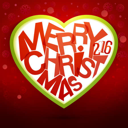 seson: Merry Christmas Heart label at magic red background. Holidays vector illustration for winter seson greetings.