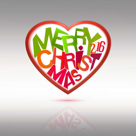 seson: Merry Christmas Heart label. Holidays vector illustration for winter seson greetings.