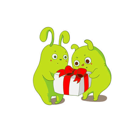 Green doodles with gift box. Cute vector illustration. Greeting card.