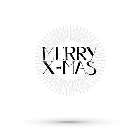 life style: Merry X-mas illustration. Vector life style banner. Sketched text quote illustration.