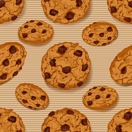 Seamless pattern with Cookies. Cookies front and side views. Sweet pastry vector background. Realistic design of food. 일러스트