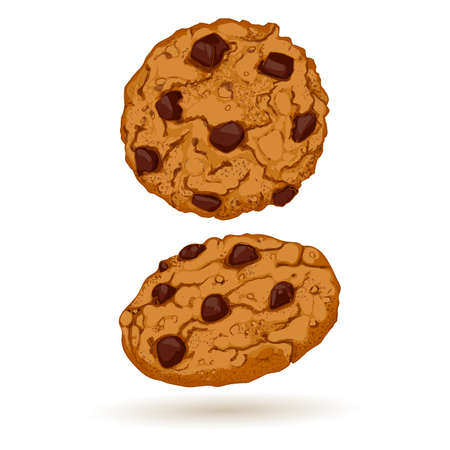 chocolate cookie: Cookies front and side views. Sweet pastry vector illustration. Realistic design of food. Illustration