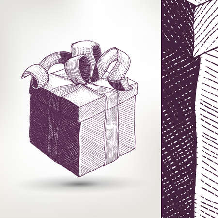 preview: Ink drawing vector Gift Box with ribbon illustration with style preview. Retro style linear sketch vector. Vintage gift symbol.
