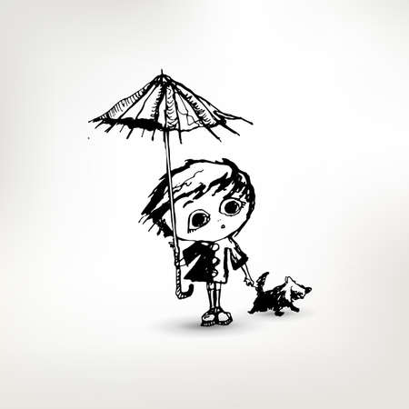 cute dog: Cute girl with dog and umbrella sketch vector illustration. Illustration