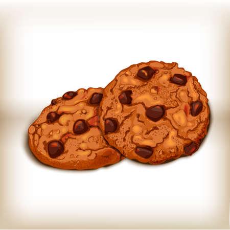 galleta de chocolate: Las cookies vistas frontal y lateral. Ejemplo dulce de repostería vectorial. Diseño realista de los alimentos. Las cookies ilustración realista.