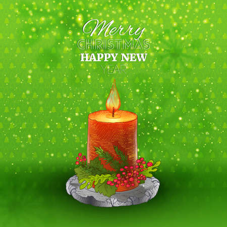 hight: Green holidays background with Candle. Vector decorative hight quality illustration.