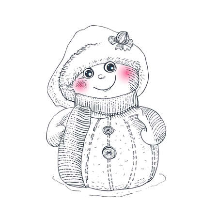 winter holidays: Snowman sketch vector character. Winter holidays illustration. Funny childish traditional symbol for Happy New year.