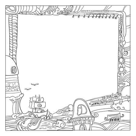dreamland: Square childish style ink drawing frame with outdoor of Dreamland.  Fantastic villiage  illustration.