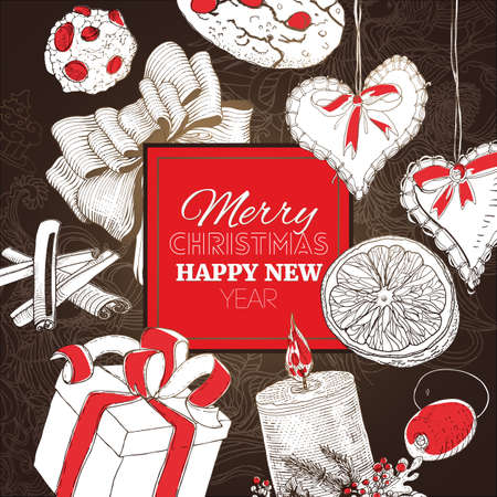 classic merry christmas card with linear sketch illustrations new year banner with a lot of