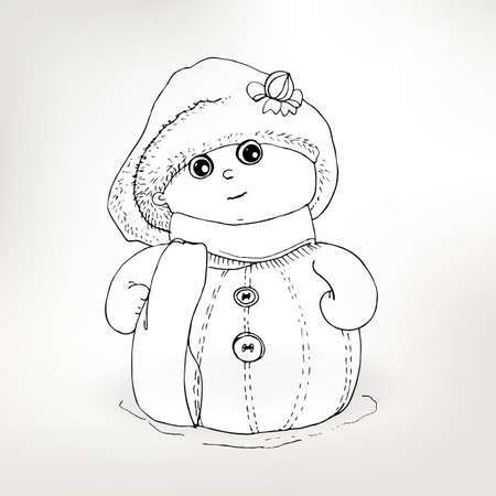 winter holidays: Snowman sketch vector illustration. Winter holidays character. Funny childish traditional symbol for Happy New year. Illustration