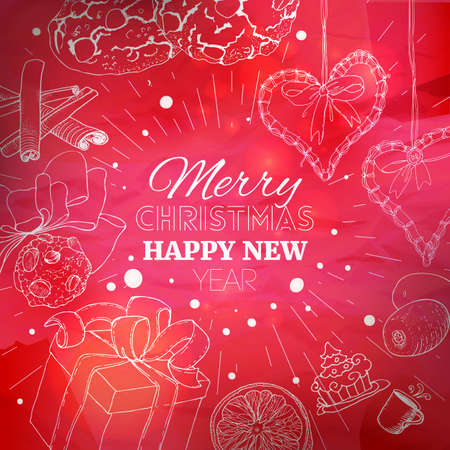 red christmas card with linear sketch illustrations at old paper new year banner background