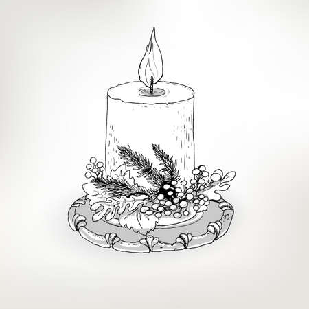 christmas candle: Ink drawn candle for gift design. Vector vintage illustration for Christmas and New Year holidays. Sketch decorative element.