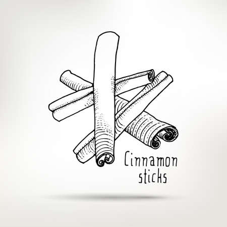 flavoring: Cinnamon sticks ink drawing. healthy food illustration. Vintage style element for menu design.