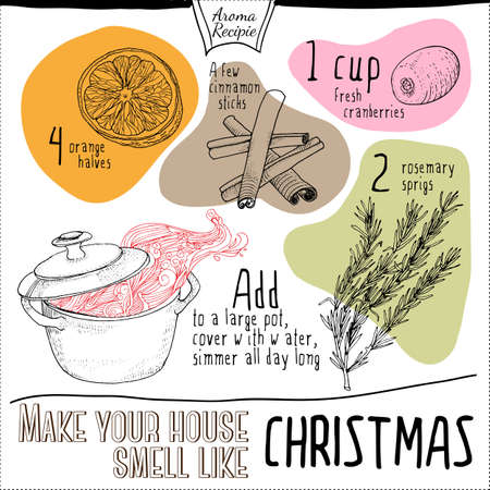 fragrance: Smell like Christmas recipe illustration. Hand drawn ingredients for Holidays home fragrance.