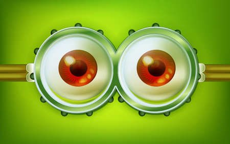 funny glasses: Brown alien open eyes with funny glasses. Fun vector abstract character concept.