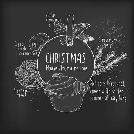 fragrance: Smell like Christmas recipie at blackboard. Vector sketch illustration. Hand drawn ingredients for Holidays home fragrance.