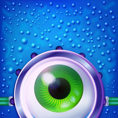 green eye: Aqua monster face with green eye. Funny glasses concept. Fun vector abstract character. Looking concept. Water blue character. Illustration