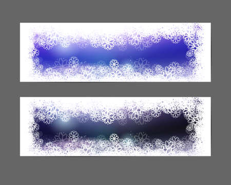 snowing: Holidays Party decorative banners with snow. Holidays background with snow frame. Traditional snowing season sky set.